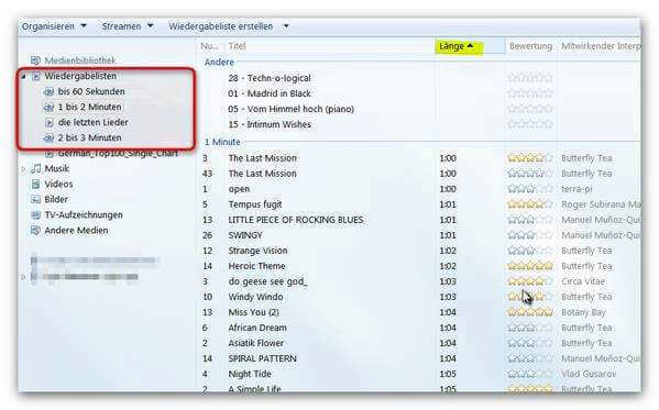 Playlisten im Windows Media Player