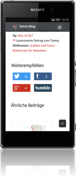Social Media-Buttons-Anzeige im Smartphone